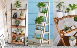 8 Ide Desain Rak Bunga dari Kayu yang Artistik & Fungsional. Bikin Lebih Hemat Tempat!